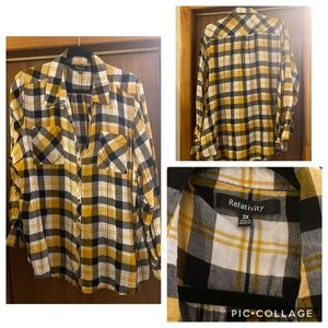 Black and Yellow Plaid Button Down